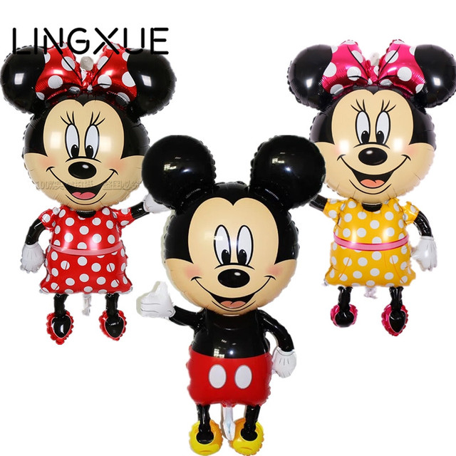 New! 112*64cm Red bowknot Mickey Minnie foil Balloons Classic kids Toys happy Birthday Wedding Party inflatable air balloons