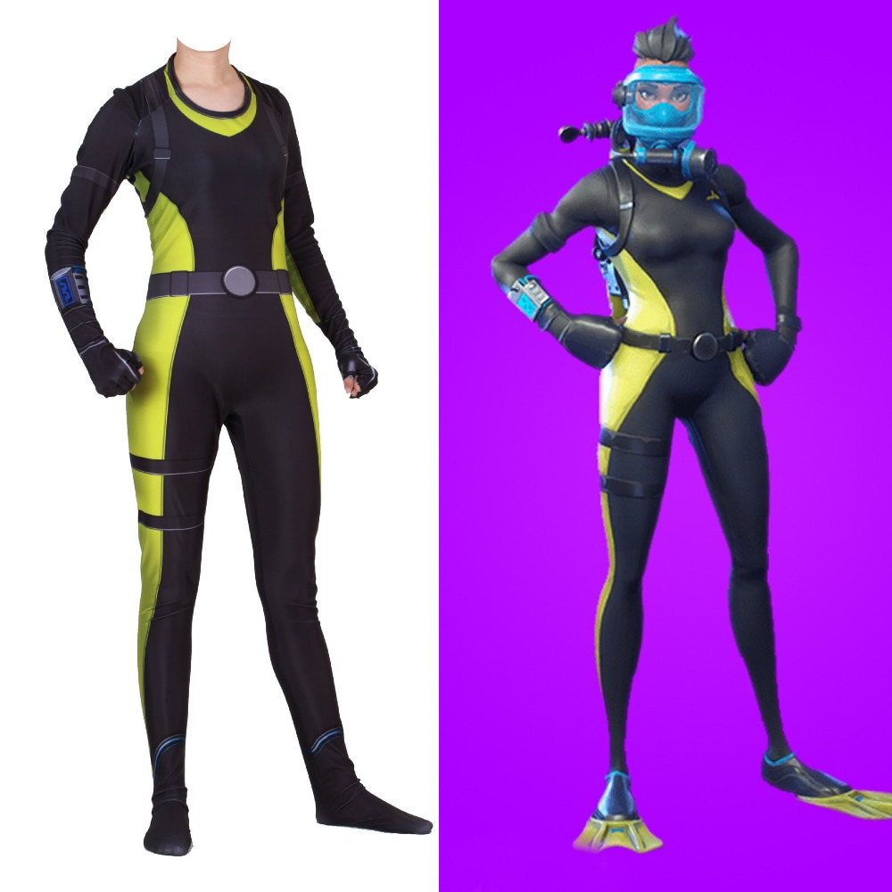 BOOCRE 2019 Game Reef Ranger Cosplay Costume Women Girl Zentai Spandex Jumpsuits Role Playing Bodysuit Party Suit New Anime