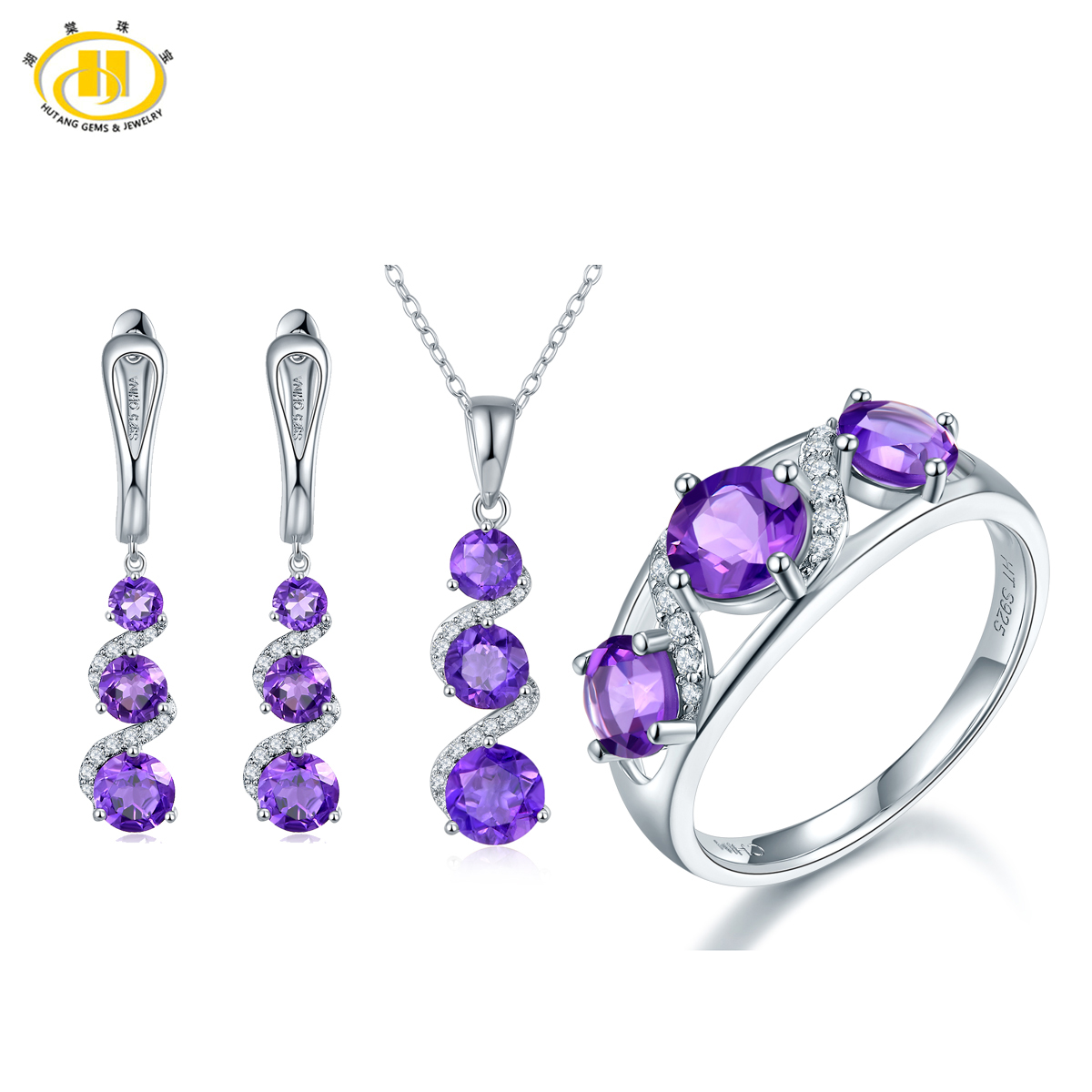 Hutang Solid 925 Sterling Silver Natural Amethyst Jewelry Sets Pendant Ring Earrings for Women Gemstone Fine Jewelry Gift 2017