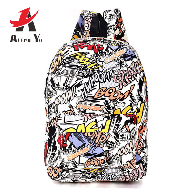 ATTRA-YO Graffiti Canvas Backpack Students School Bag Teenage Girls Boys Backpacks Bags Cartoon Rucksack Street Escolar CD7069/d