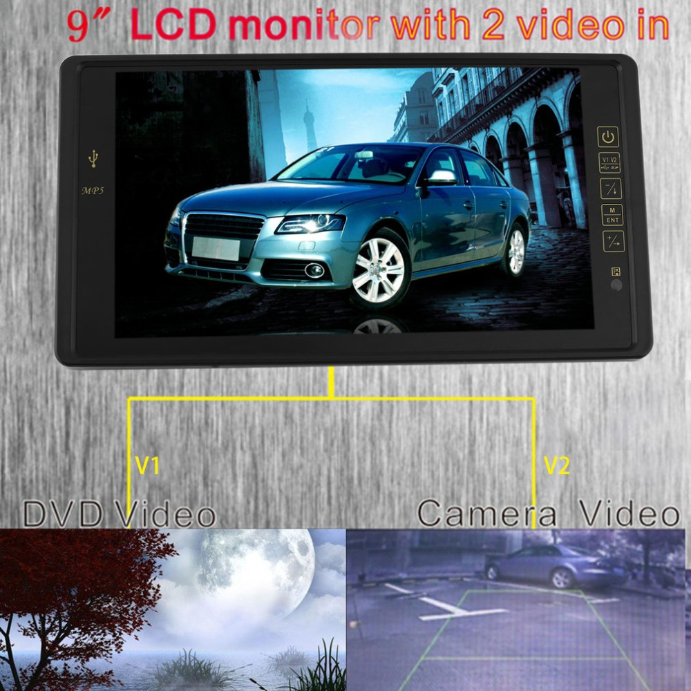 High Resolution 9 INCH HD TFT LCD Display Car Rearview Mirror Powerful Monitor MP5 Car Parking Monitor Reversing Priority