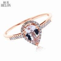 HELON 5x7 мм Груша морганит проложить природные бриллианты кольцо Твердые 10 К розовое золото обручение Свадебные драгоценные камни бриллианты