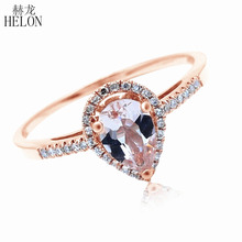 HELON 5x7mm Pear Morganite Pave Natural Diamonds Ring Solid 10K Rose Gold Engagement Wedding Gemstone Fine Jewelry
