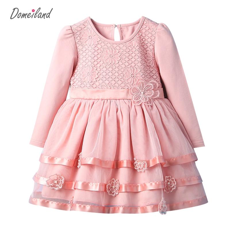 2017 Fashion spring Brand DOMEI LAND Children Clothes baby girls cotton pink Floral dress Princess dress