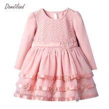 2017 mode printemps marque domei land enfants vêtements bébé filles coton rose floral robe princesse robe enfant de partie vêtements