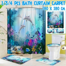 Ocean Dolphin Shower Curtain Polyester Waterproof Curtains + Pedestal Rug Lid Toilet Cover Bath Mat Set for Bathroom Decor