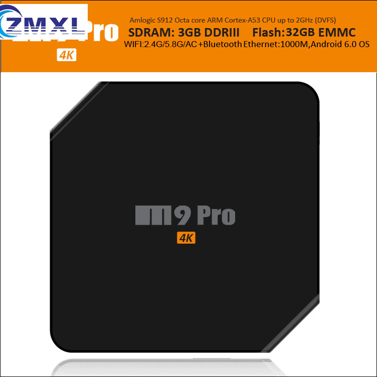M9PRO TV BOX ZMXL 3G+32G Smart Android 6.0  Latest 17.0 Fully Loaded Octa core