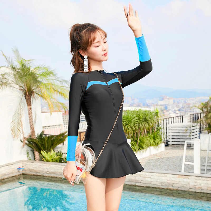 0320bc6074 ... LYSEACIA Plus Size Sports Swimwear Cute Woman Zipper One Piece Swimsuit  Skirts Bottom Beachwear Sexy Bathing ...