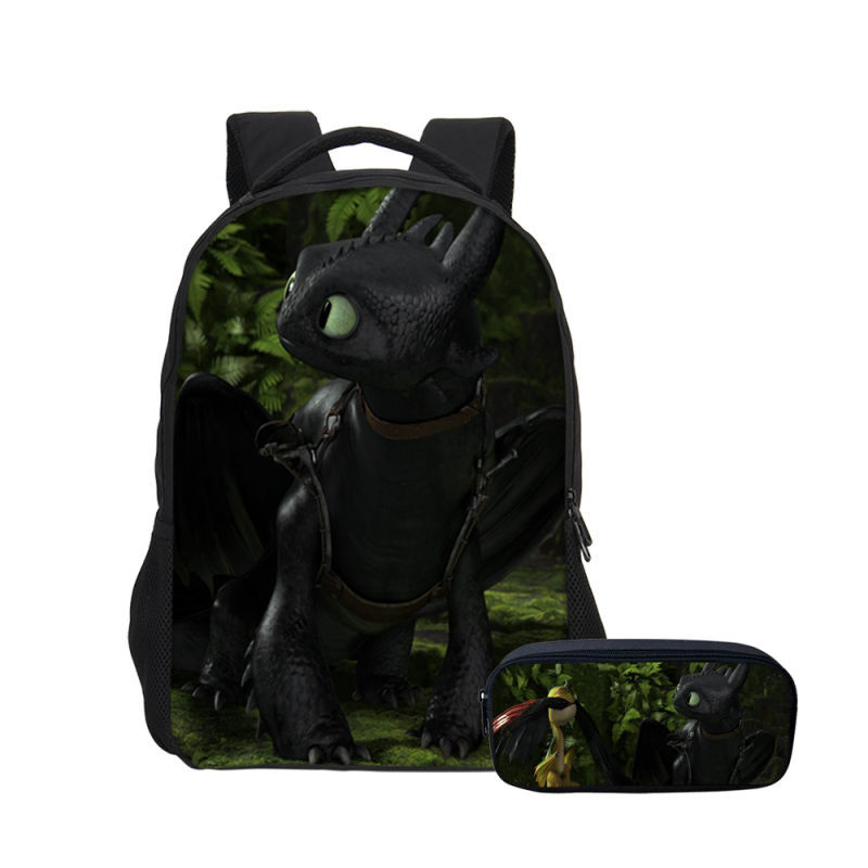 Rucksack Men Pencil-Bag-Case Toothless-Light Printed Backpack Train Dragon Cartoon How title=
