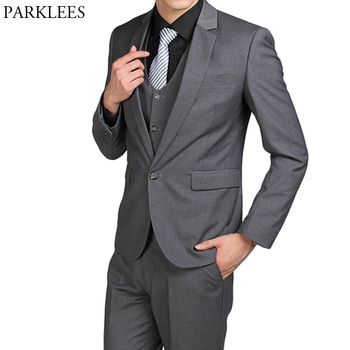 Dark Gray Men Single Breasted One Button Suits Blazer Slim Fit 2 Piece Suits (Jacket+Pants) Wedding Groom Tuxedo Costume Homme