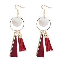 New Bohemia Style Tassel Earrings Colorful Alloy Round Drop Earrings For lady Wedding Holiday Party Gift red gray round colorful embroidery drop earrings