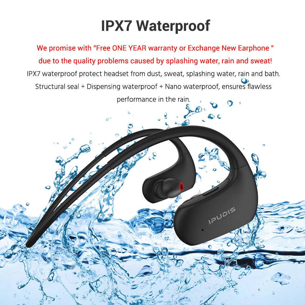 9f83827276f ... IPUDIS IPX7 Waterproof Sport Bluetooth Earphone Stereo Neckband Wireless  Headphone HiFi Headset with Microphone for Xiaomi ...