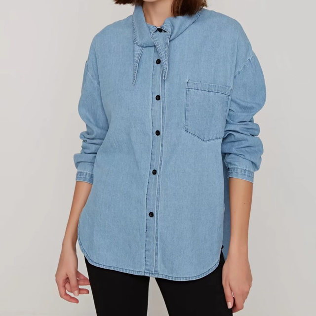 b09290f10 Button Down Tunic Blouse Women Work Clothes Light Blue Casual Blouses  Summer Tops Female Loose long Sleeve Shirt 2018