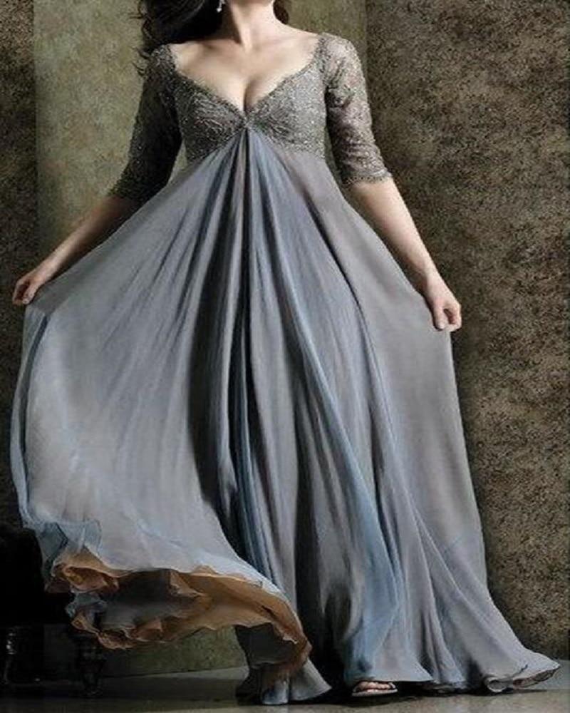 Gray 2016 Mother Of The Bride Dresses A Line V Neck Half