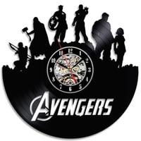 Fashion Creative Vinyl 3D Record Clock Marvel Avengers Superhero Theme Antique LED Wall Clock Room Decor Wall Art Clock