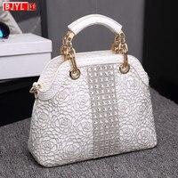 Luxury fashion dismonds Women handbags crocodile leather female shoulder slung shell bag ladies white rhinestone messenger bags