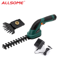 ALLSOME 2 in 1 Rechargeable Hedge Trimmer Power Tools 7.2V Combo Lawn Mower Grass Cutter Cordless Garden Tools ET1502C