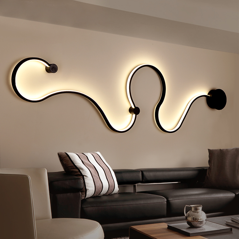 Modern minimalist creative wall lamp black white led indoor living room bedroom bedside wall for Living room wall light fixtures