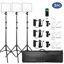 """VILROX 3 stücke VL 200T Bi farbe Dimmbare Wireless remote LED Video Licht Panel Beleuchtung Kit + 75 """"Licht stehen für studio schießen"""