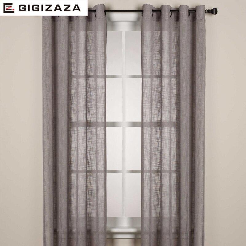 GIGIZAZA Cheap White Translucidus Sheer Voile Tulle Window Curtain Panels  For Bedroom Livingroom Custom Size Grey