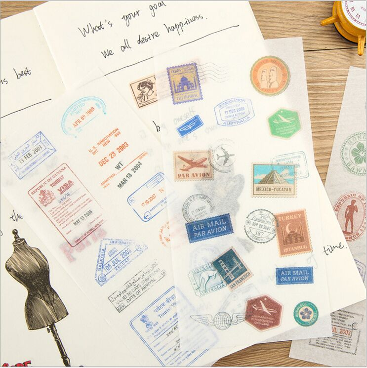 6 Pages/Pack Vintage Postmark Stamps Traveling Life Decorative Planner Stickers DIY Diary Scrapbooking Phone Index Seal Stickers 12pcs set wooden rubber stamps 4 styles cute cartoon stamps for diy scrapbooking diary card decorative stamp embosser
