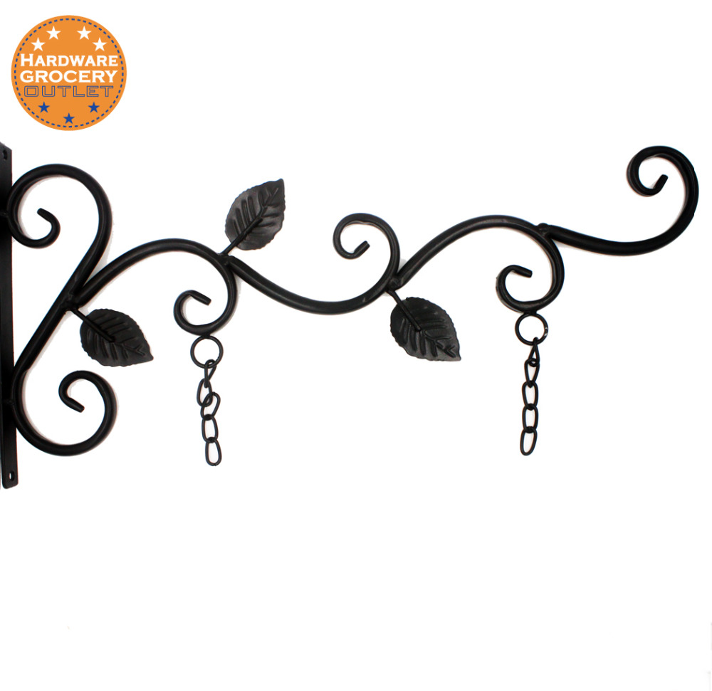 office home hanging sign bracket outdoor,black iron, Decorative black metal scroll brackets for door signs