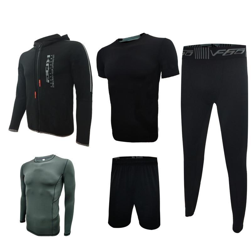Otoño Invierno conjuntos de correr para hombres 5 uds. De compresión Fitness deportes trajes de baloncesto mallas ropa con capucha gimnasio Jogging chándales - 3