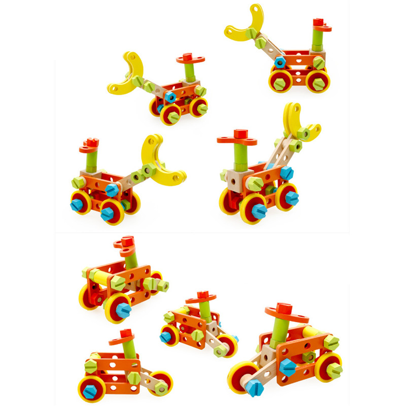 Kids Screw Wood Educational Toys Wooden Toy Baby Gift Children Assemble Puzzle Removable Nut Combination Dismounting Tool educational wooden polygon ball puzzle unlocking toy for kids children wood