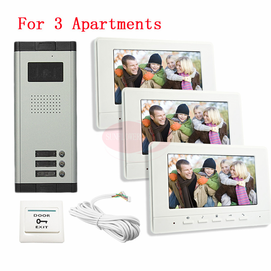 For 3 Apartments 7inch Video Intercom Door phone IR Night Vision Camera Monitor Kit for Home Security In Stock! tmezon 4 inch tft color monitor 1200tvl camera video door phone intercom security speaker system waterproof ir night vision 4v1