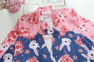 Image 5 - Kobiety piżamy zestaw wiosna i lato nowy panie bielizna nocna zestaw śliczny królik drukowane gaza bawełna komfort w stylu Kimono kobieta Homewear