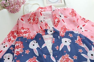 Image 5 - Vrouwen Pyjama Set Lente & Zomer Nieuwe Dames Nachtkleding Set Leuke Konijn Gedrukt Gaas Katoen Comfort Kimono Stijl Vrouwelijke Homewear