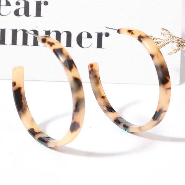 Gap Round Acrylic Leopard Green Acetic Acid Fashion Big Dangle Drop Statement Ea