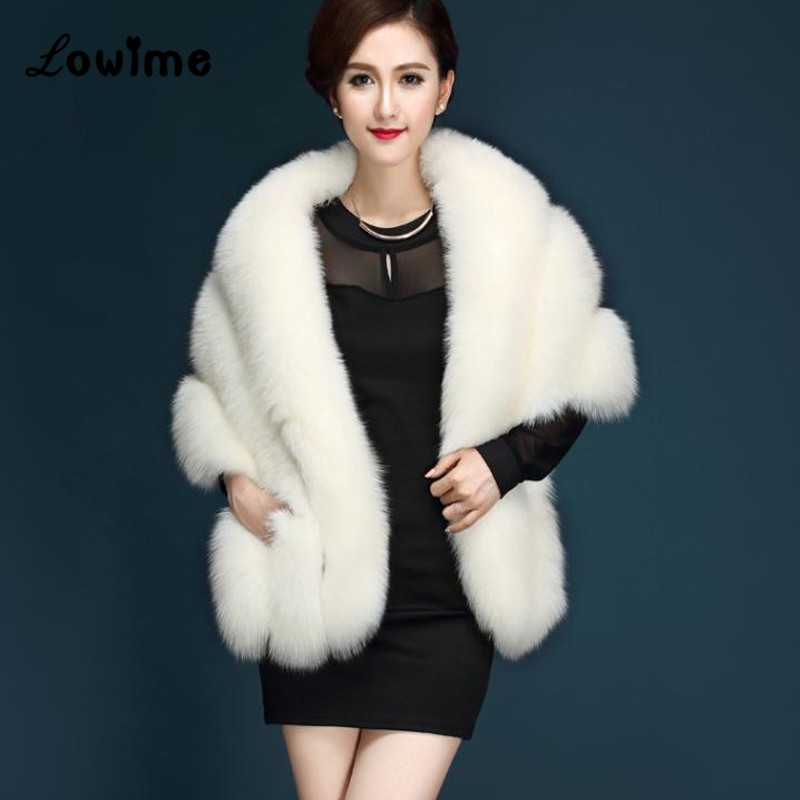 Bolero Women Faux Fur Stoles Wrap Fashion Bridal Capes Winter Wedding Jacket Mariage In Stock Ivory
