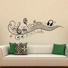 Ноты Настенные Наклейки Микрофон Наушники Винил Стены Искусства Наклейки Home Decor Для Музыкальных Номеров