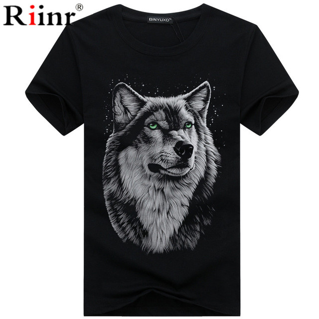 Men's clothing T-Shirt White T shirt Casual Cotton Wolf Printed Cartoon Short Sleeve Tee Shirt Men Brand Tee shirt 5XL