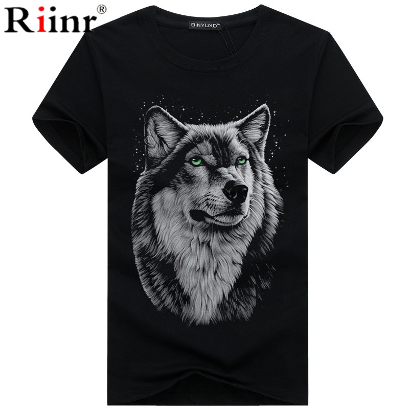 Men's clothing   T  -  Shirt   White   T     shirt   Casual Cotton Wolf Printed Cartoon Short Sleeve Tee   Shirt   Men Brand Tee   shirt   5XL