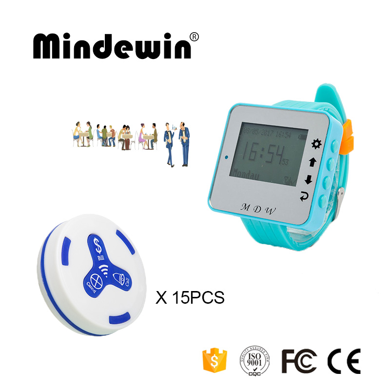 Mindewin 433MHz Wireless Call System 15PCS Table Call Button M-K-3 + 1PCS Watch Pager M-W-1 Reataurant Wireless Pager System wireless table call system monitor bell buzzer used in the cafe bar restaurant 433 92mhz 2 display 1 watch 18 call button