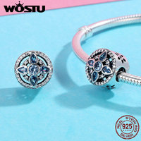 WOSTU Authentic 925 Sterling Silver Original Design Sea Blue Cubic Zircon Crystal Geometry Charm For Original