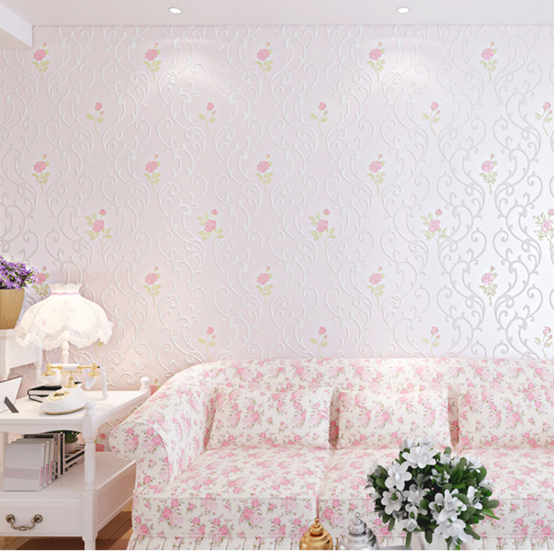 Rustic Wallpaper for Walls Pastoral Romantic Floral Wall Paper Roll Bedroom Wallpapers 3D Non Wove Wallpaper for Living Room rustic wallpaper 3d stereoscopic wallpaper roll non woven pastoral wallpaper for walls bedroom wall paper pink for living room
