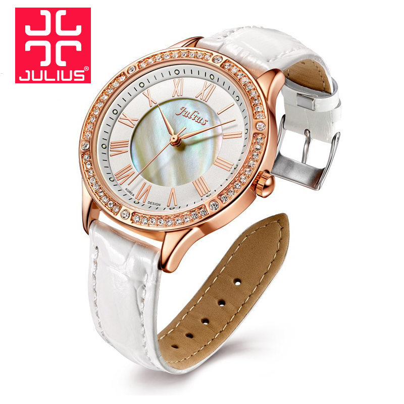 Top Julius Lady Women's Wrist Watch Elegant Rhinestone Shell Fashion Hours Luxury Dress Bracelet Leather Party Girl Gift julius lady women s wrist watch elegant shell rhinestone business fashion hours dress bracelet leather girl birthday gift 676