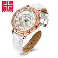 Top Julius Lady Women's Wrist Watch Elegant Rhinestone Shell Fashion Hours Luxury Dress Bracelet Leather Party Girl Gift