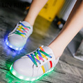 LIN KING Women Rainbow Lace Up LED Lights Shoes Casual PU Leather Glowing Zapatos Mujuer Light Up Shoes Low Top Led Flats Shoes