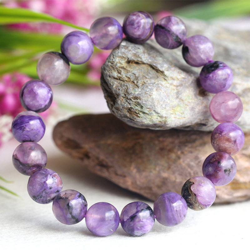 Natural Genuine Purple Charoite Finished Stretch Bracelet Round Loose 10mm beads Jewelry DIY 04106Natural Genuine Purple Charoite Finished Stretch Bracelet Round Loose 10mm beads Jewelry DIY 04106