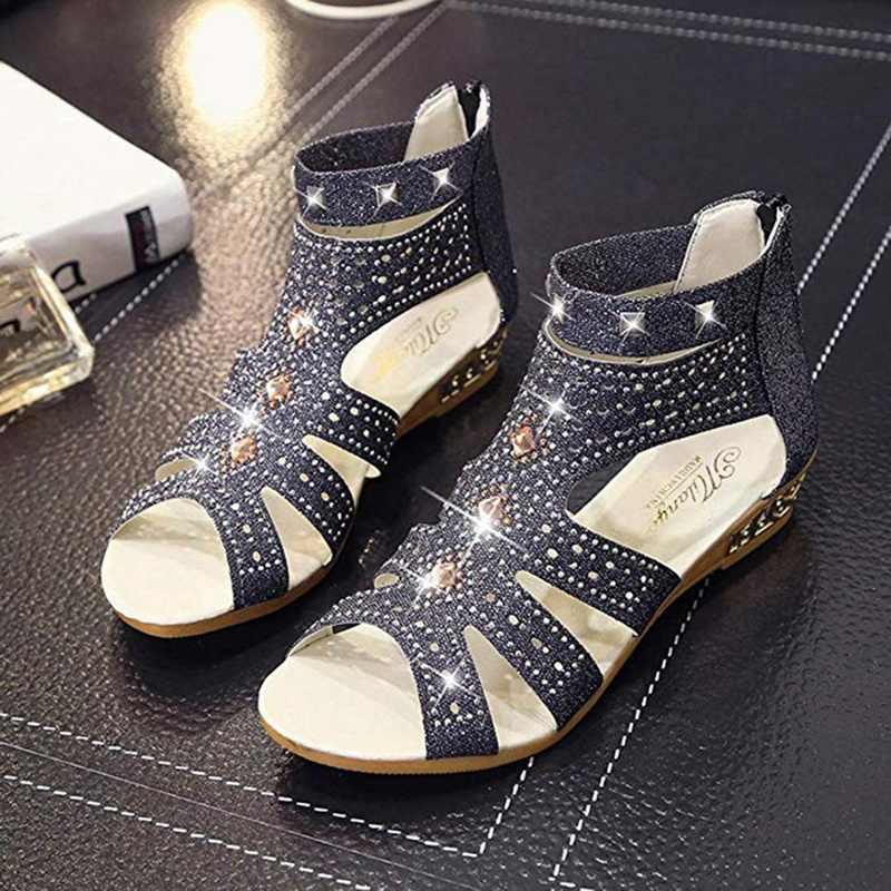 CYSINCOS แฟชั่นผู้หญิงรองเท้าแตะ Rivet Peep Toe ข้อเท้ารองเท้าฤดูร้อน Bling Wedges สีดำสีขาวสี