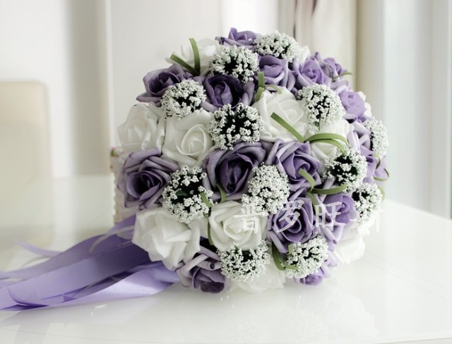 Online 1pc X Purple White Bride Holding Flowers Bouquet Wedding Decoration Free Shipping Aliexpress Mobile