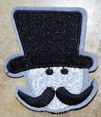 ГОРЯЧАЯ SALL!~ Черная шляпа Великобритании борода Британский панк железа на Нашивки, пришить патч, Аппликации, из ткани, гарантия качества