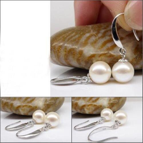 Véritable chaude AAA mer du sud véritable 10-11mm blanc perle boucle d'oreille 14 k - 2