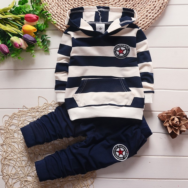 BibiCola baby boys spring autumn clothing set infant hoodies shirt Newborn babies Striped sweatshirt Bebe casual outfit for boy