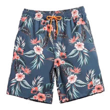 2019 Hot Men Boardshorts SwimWear Surf Beach quick-drying Shorts Sports Trunks Floral Printing Flower Gray Shorts Beach Wear(China)