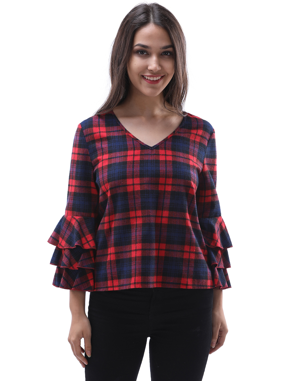 2018 New Red Plaid Blouses Shirt  Female 3/4 Sleeve Casual Slim Women Ruffles Hollow Plus Size Shirt Office Lady Backless Tops